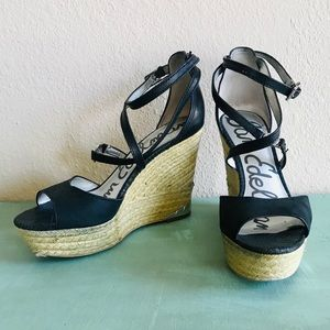 Sam Edelman Black Leather Espadrille Sandals